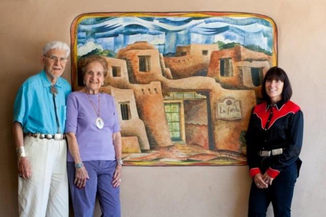 La Fonda Hotel Lobby, Santa Fe, painting by Tony Abeyta: Sid and Ruth Schultz, Jenny Kimball