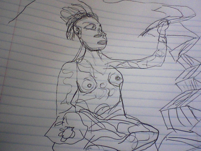 Oh, yeah I also made this sketch of the Mayan Scribe, after JAA