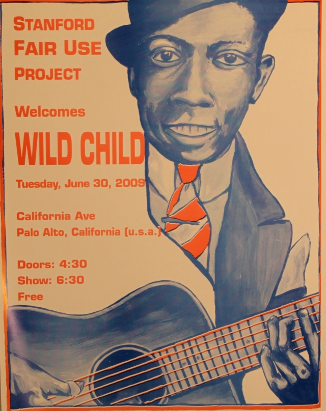 this transformative version by Diana Hartman of a photo of Robert Johnson was conceived of for the first Palo Alto World Music Day then re-purposed to promote a Doors cover band civic show; the Stanford Fair Use Project who sponsored the printing is a different one than the Lessig-led group at Stanford, but with a confusingly similar name