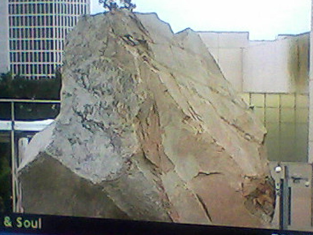 "screen capture of ""Art and Soul"" segment on Heizer piece"
