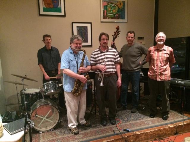 Palo Alto Jazz Quintet (Dan Adams, Dave Deneau, David Brigham, Malcolm Smith, Terrigal Burn), Mountain View, CA, Feb. 2014 in the post-Jazz age