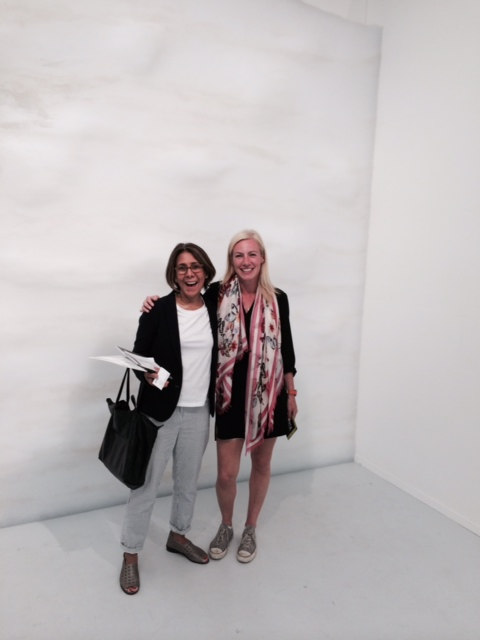 Terry Acebo Davis and Elizabeth Sullivan, in front of a Tara Donovan masterpiece, at Pace Gallery, Menlo Park, May, 2104
