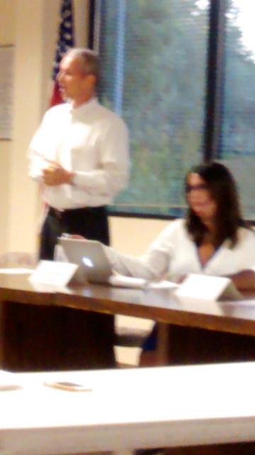 Ben Field and Noelle Marie Fernandez of Labor Council briefing Santa Clara candidates, August, 2014, San Jose