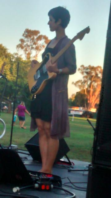 Ila Cantor guitar goddess August 2014 Palo Alto Mitchell Park with Mads Tolling Quintet