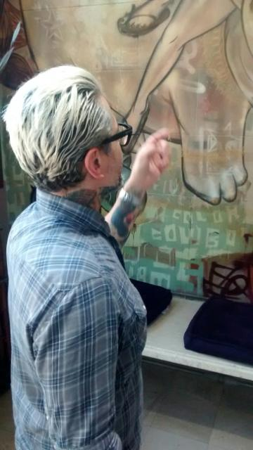 Johnny inspects his Choe at 5 Color Cowboy, 1445 the Alameda, San Jose August, 2014