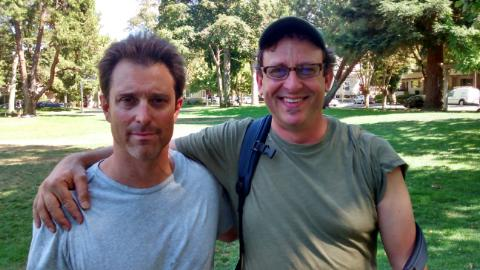 My Gunn classmate Richard Freed and I spent a considerable amount of the 1980s and 1990s hanging Paly- and Frisco-style, but no so much in recent years; we chanced into each other at Johnson Park the other day.