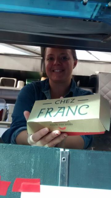 Jacquetta Lannan, Chez Franc mobile, at Mitchell Center grand opening, December, 2014
