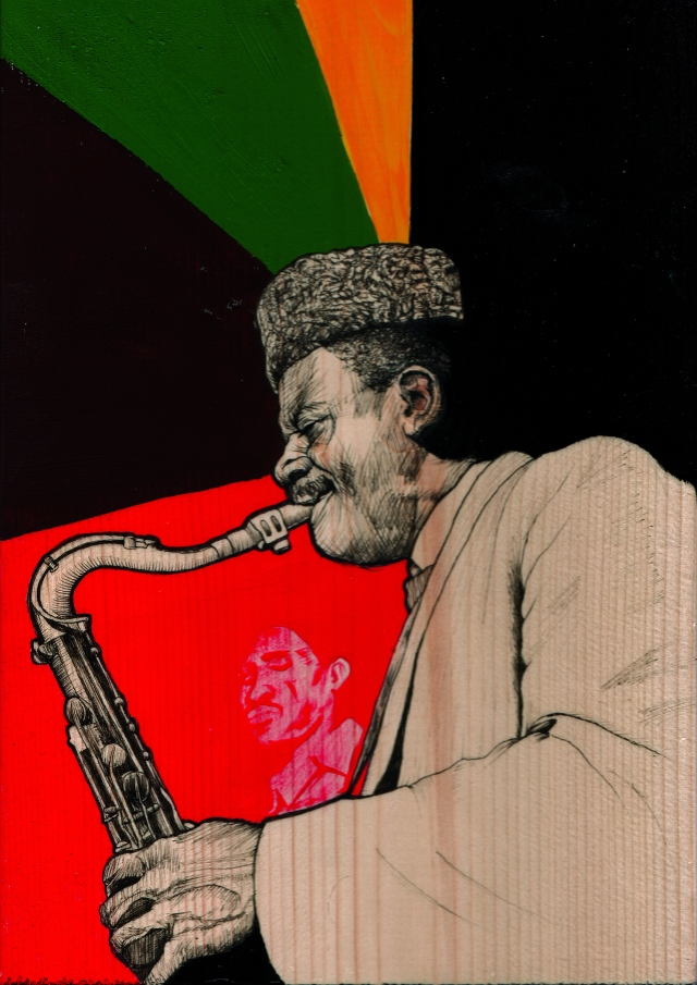 Pharoah Sanders on tenor as depicted by SF artist Ian Johnson, courtesy of that badmutha, not to be confused with Turkish jazz man Muffucka Fillet