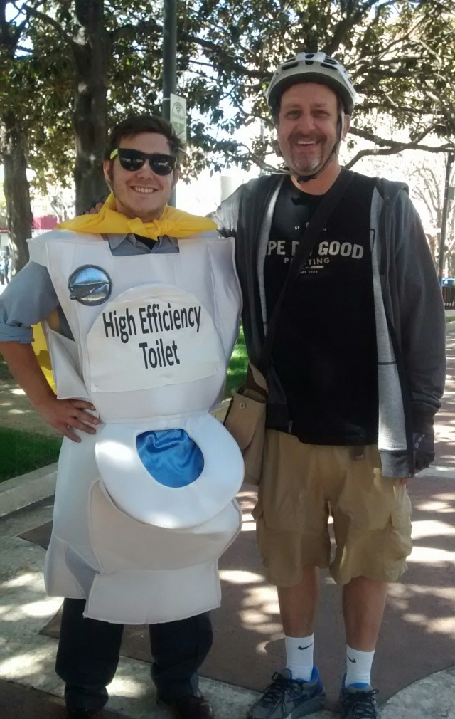 Superhero summit at palo alto city hall featuring Jordan  cowman of staff as superflush and mark Weiss as Pe Good it actually says Ape do good