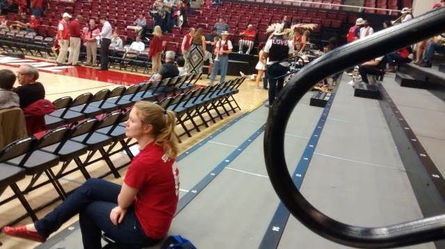 Her 13,000 counterparts apparently not getting the memo or invite Stanford student rooter Taylor goes it sola, versus Vandy
