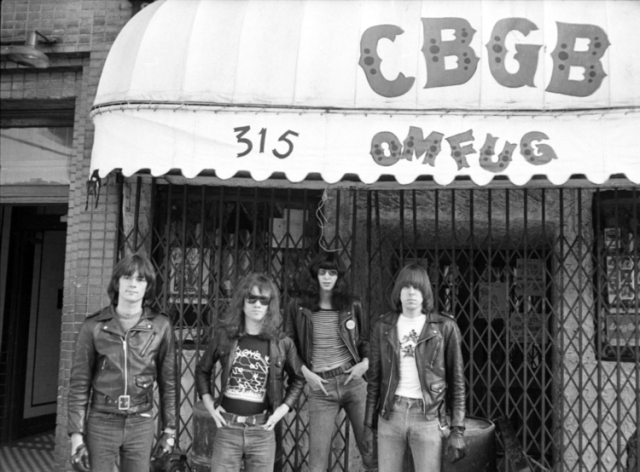 This is a famous rock group called The Ramones (I never heard) in front of a club CBGB in New York I went to once.