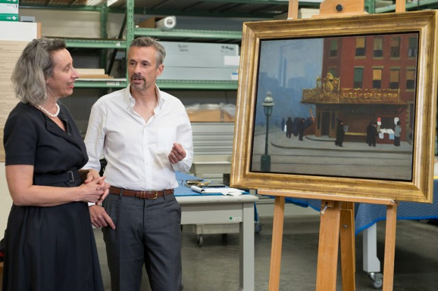Connie Wolf, museum director and Alexander Nemerov, scholar and professor, with Cantor's new Hopper, photo by L.A. Cicero, via Stanford News Service