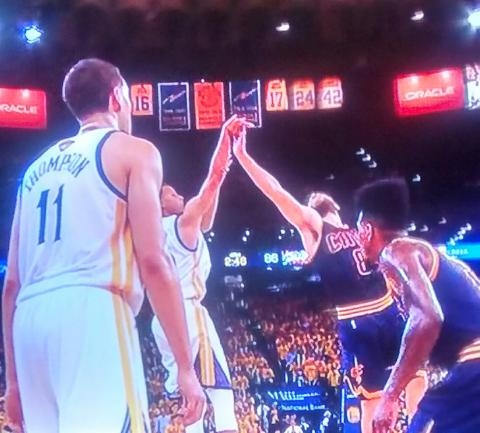 ON the next possession, Curry steps back and shoots over Dellanova, who was in good position otherwise, to make it, 96-86, on the way to 104-91; it was knotted at 75-all.