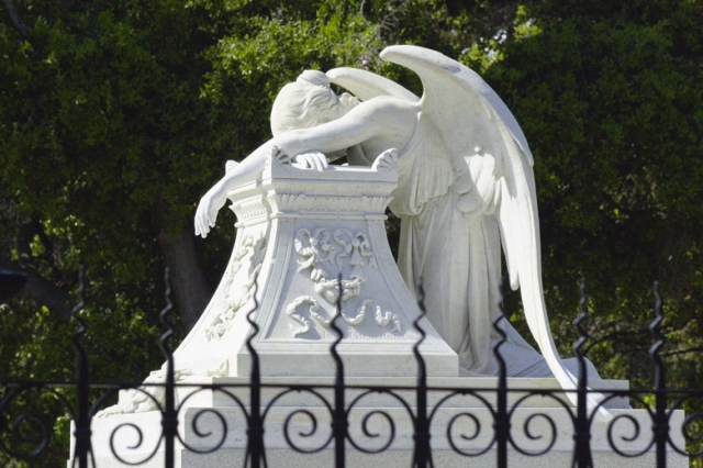 Credit LA Cicero / Stanford News Service Angel of Grief at Stanford, from 1908 to six days ago, in honor of dead brother of Jane Lathrop Stanford