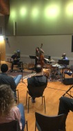 Dave Douglas trumpet, Jeff Parker guitar, Carmen Rothwell bass bow rosin not resin, Clarence Penn
