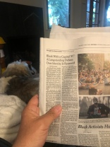 I noticed with the newspaper fold it in my lap but I wasn't sure where the dialogue about words ended in the article about activism jumped from page 1 begin